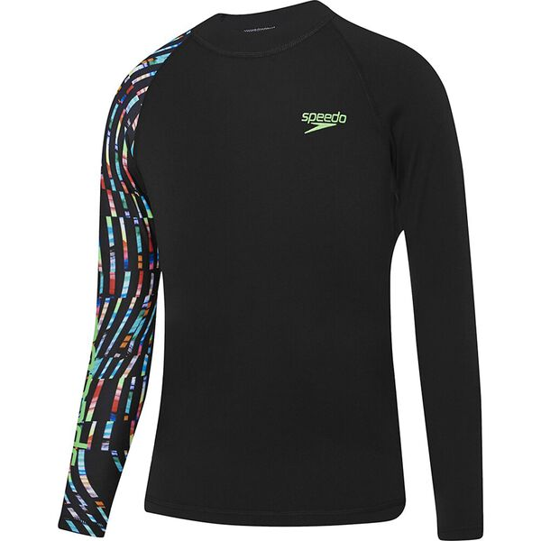 Boys Dissect Long Sleeve Sun Top, Black/Neon Nights, hi-res