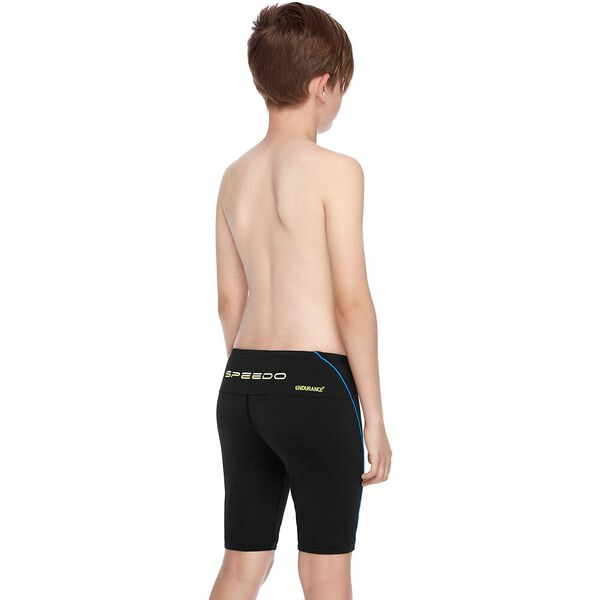 BOYS ENDURANCE+ LOGO JAMMER, Black/Amalfi/Safety Yellow, hi-res