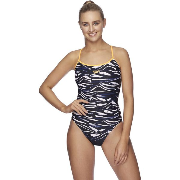 Womens Tie Back High Leg One Piece, Bandhan/Funray, hi-res