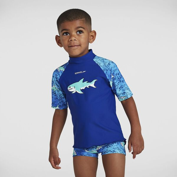 Toddler Boys Sun Protection Top And Short, Northern/Hypersonic Blue/Spearmint, hi-res