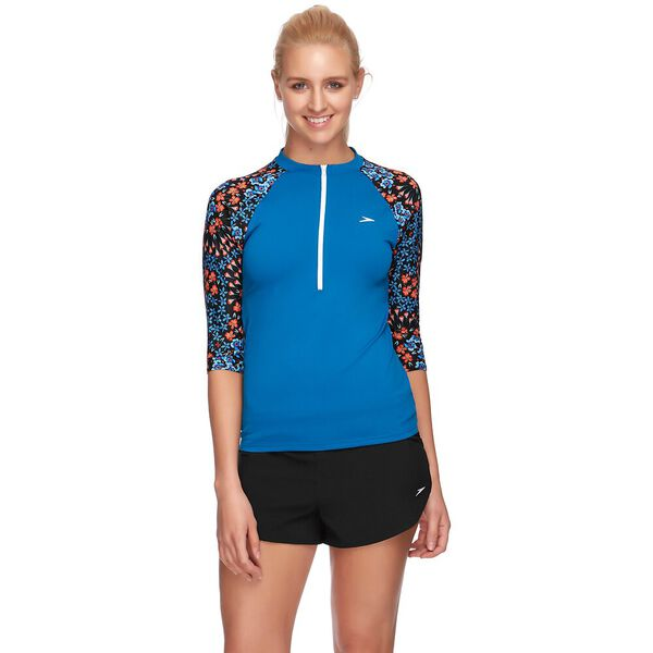 WOMENS END+ HALF ZIP 3/4 SLEEVE RASHIE, NORDIC/VICTORY, hi-res