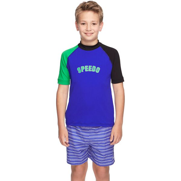 BOYS BOYS LOGO SHORT SLEEVE SUN TOP, Black/Speed/Vine, hi-res