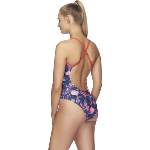 Womens High Leg Open X Back One Piece, Rozebra/Lava Red, hi-res