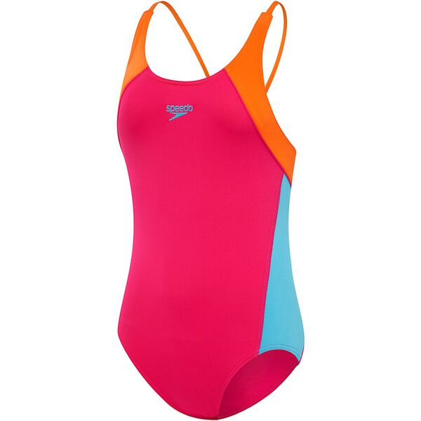 GIRLS SPLICE CROSSBACK ONE PIECE, Electrick Pink/Tang, hi-res