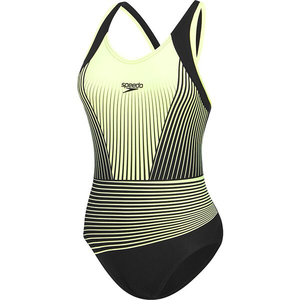 Womens Muscleback One Piece, Black/ Zest Illusion, hi-res