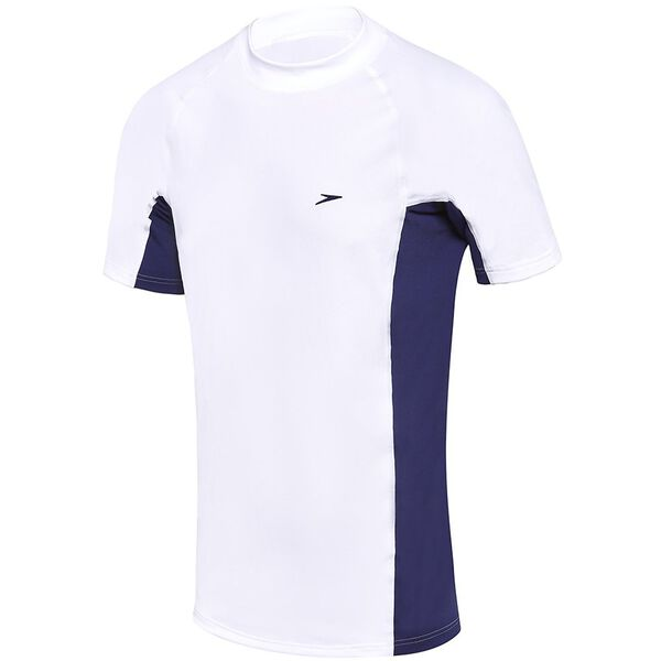 MENS SLIM FIT SHORT SLEEVE SUN TOP, White /Speedo Navy, hi-res