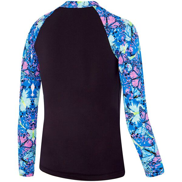 GIRLS STAR LIGHT ZIP UP LONG SLEEVE RASHIE, Sparkle Butterfly, hi-res