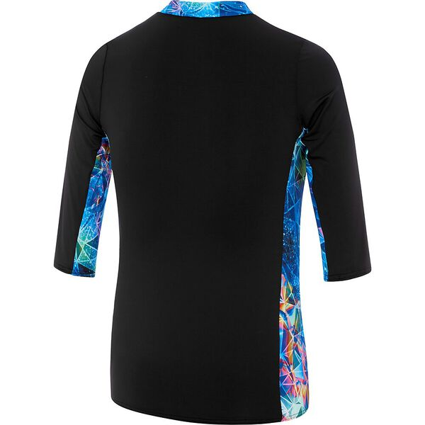 GIRLS 3/4 SLEEVE HALF ZIP RASHIE, Glitch Sparkle, hi-res