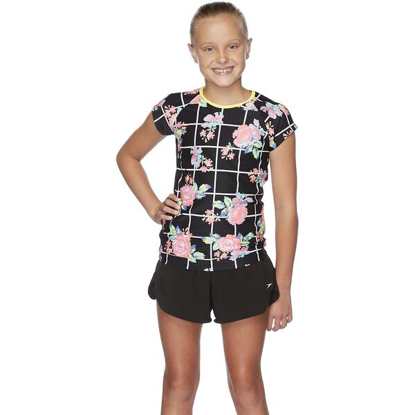 GIRLS FLORICHECK CAP SLEEVE SUN TOP, Floricheck/Black, hi-res