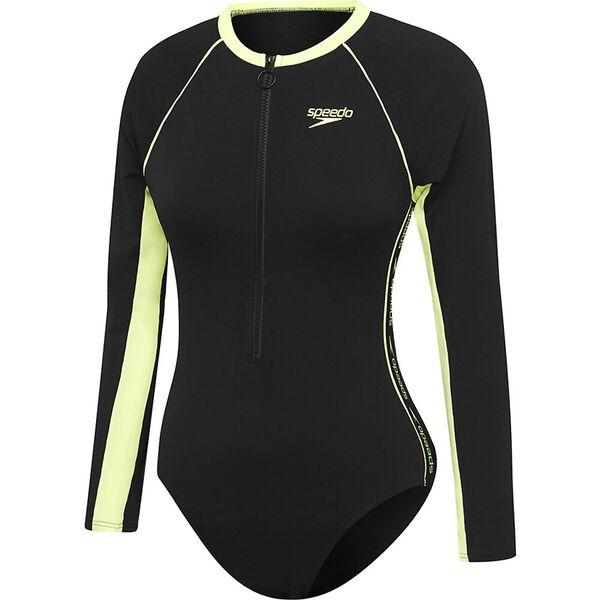 Womens Endurance+ Superiority High Leg Paddlesuit, Black/Zest, hi-res