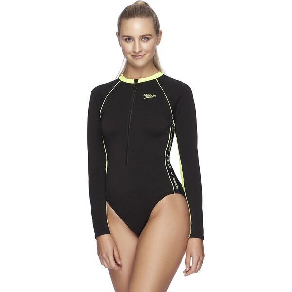 Womens Endurance+ Superiority High Leg Paddlesuit, Black/Zest, hi-res