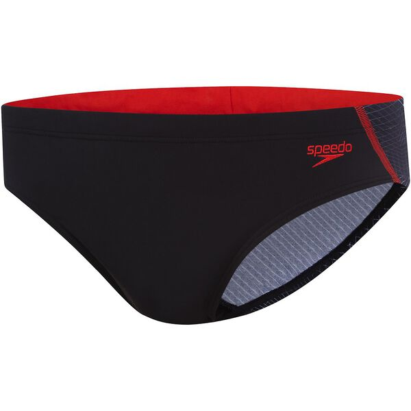 MENS TRAX 10CM BRIEF, Black/USA Red, hi-res