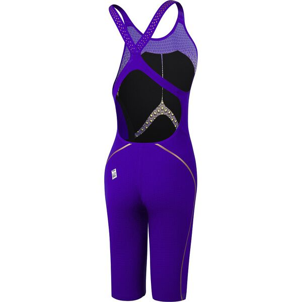 Womens Fastskin LZR Pure Intent Openback Kneeskin, Violet/Fluo Yellow/Black/Rose Gold, hi-res