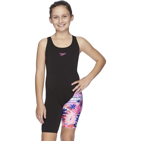 Girls Leaderback Legsuit, Tropic Optic, hi-res