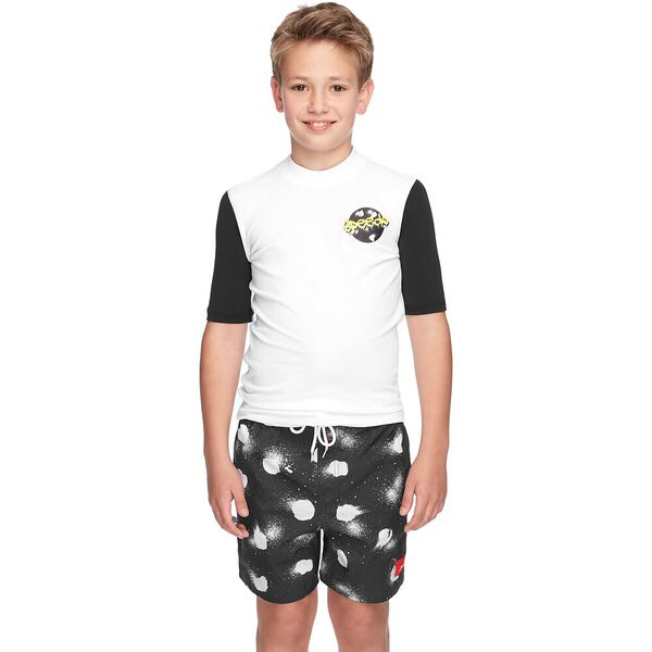 BOYS ICON LOGO SHORT SLEEVE RASHIE, White/Black, hi-res