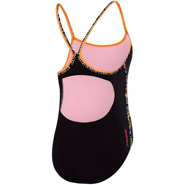 GIRLS MULTI LINES SIERRA ONE PIECE, Black/Colour All Sorts, hi-res