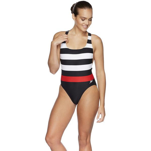 WOMENS 80S RACER ONE PIECE, BOLD STRIPES, hi-res