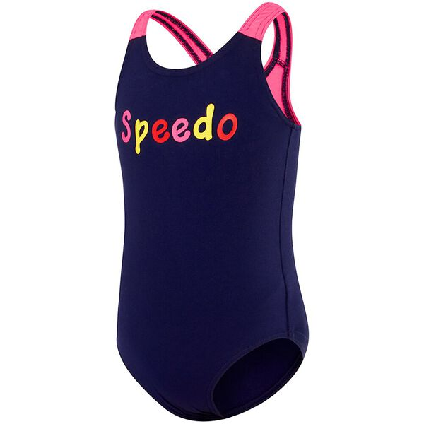 TODDLER GIRLS LOGO MEDALIST ONE PIECE, Speedo Navy/Multi Speedo, hi-res