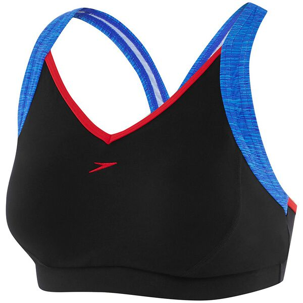 WOMENS CROSS TRAINER RACER TOP, BLK/M LINES/US RD, hi-res