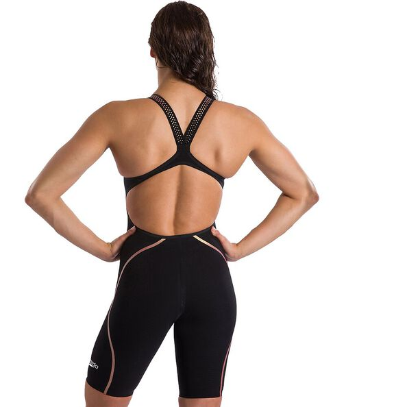 WOMENS LZR INTENT OPENBACK KNEESKIN, BLACK/GOLD, hi-res