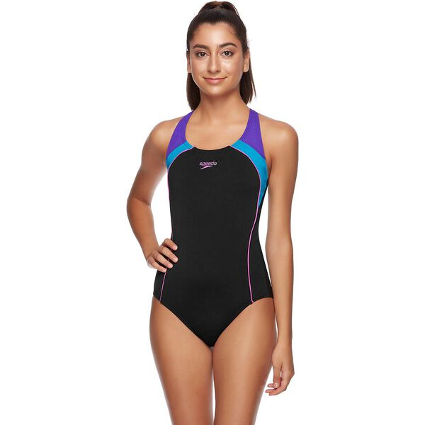 WOMENS IMAGE UPLIFT ONE PIECE, BLACK/LAKE/GRAPE, hi-res