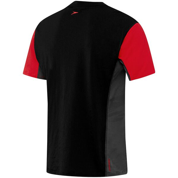 MENS MOTION RELAXED SHORT SLEEVE RASHIE, Black/Sport Red/Graphite, hi-res