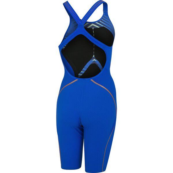 Womens Fastskin LZR Pure Intent Openback Kneeskin, Blue Flame/True Navy/Zest Green/Rose Gold, hi-res