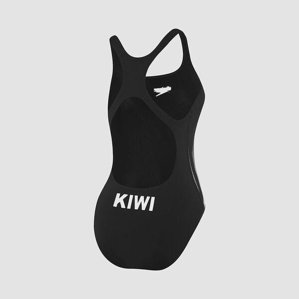 Womens Kiwi One Piece, Black/Silver, hi-res