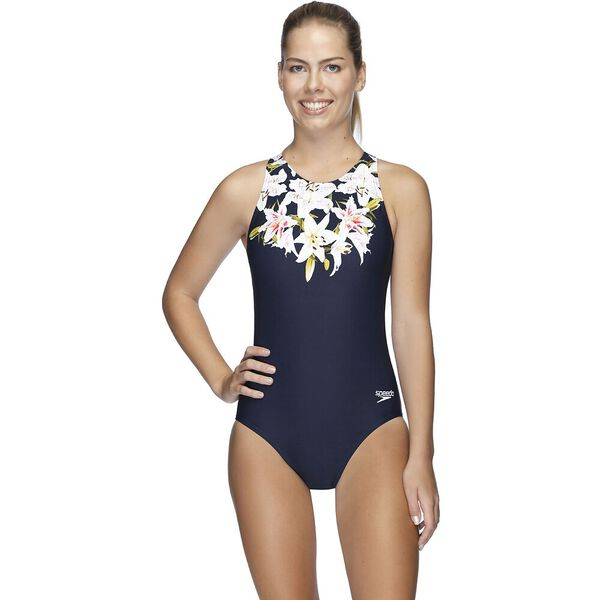 Womens Turbo Suit One Piece, Lily Ray/Speedo Navy, hi-res