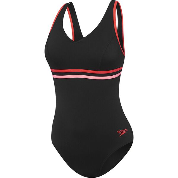 Womens V Neck Clipback One Piece, Black/Lava Red/Chewing Gum, hi-res