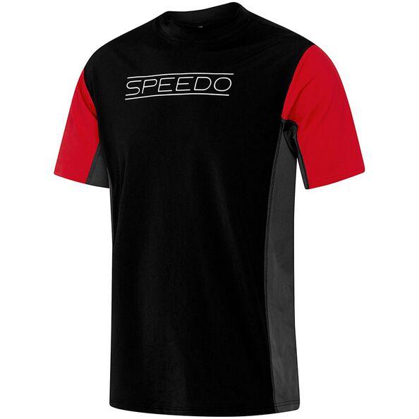 MENS MOTN RLX SHORT SLEEVE RASHIE, Black/Sport Red/Graphite, hi-res