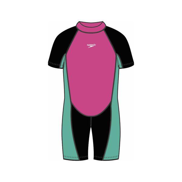 Toddler Girls Speedo Neoprene Suit, Black/Pink Diamond/Sweet Mint, hi-res