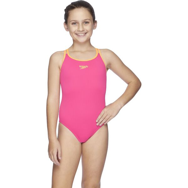 Teens Squad Twin Strap One Piece, Neon Pink/Funray, hi-res