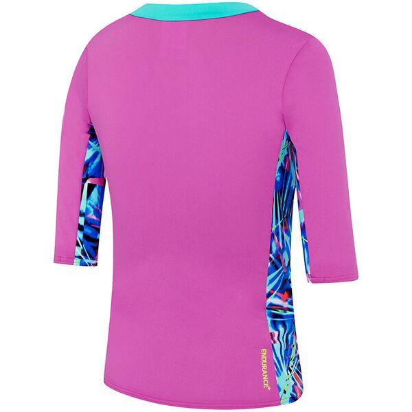 GIRLS 3/4 SLEEVE HALF ZIP RASHIE, Orchid/Rays Splice, hi-res