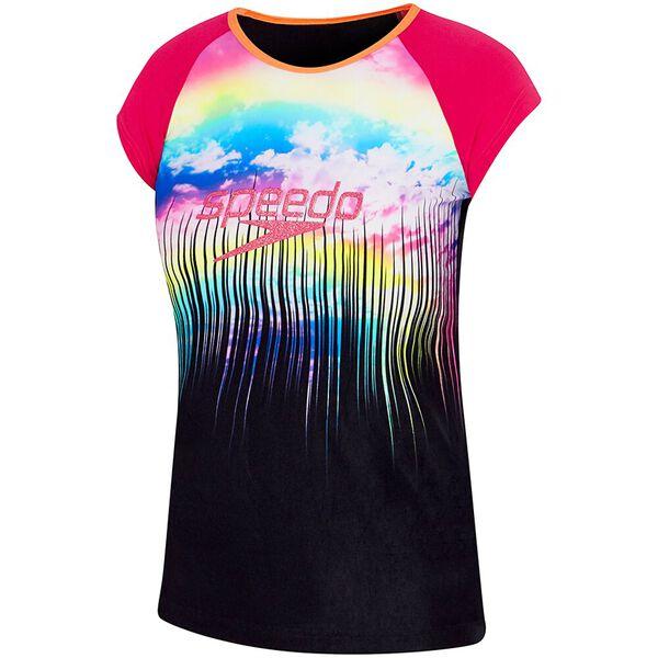 GIRLS LOGO CAP SLEEVE SUN TOP, Rainbow Sky, hi-res