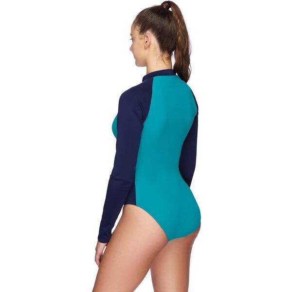 Teens Eco Long Sleeve Paddlesuit, Surfer/Speedo Navy/Funray, hi-res