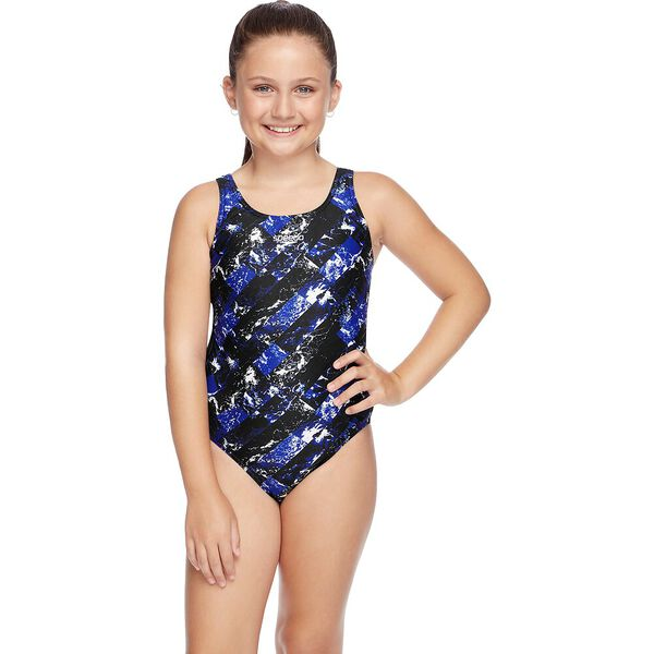 GIRLS SCHOOL COLOURS LEADERBACK ONE PIECE, Speed/Wave, hi-res