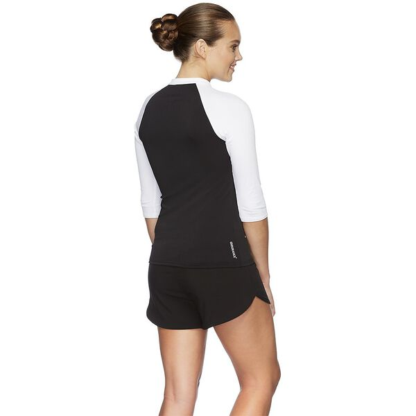 WOMENS END+ HALF ZIP 3/4 SLEEVE RASHIE, BLK/WHT, hi-res