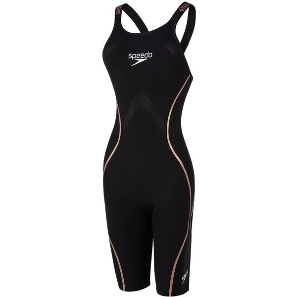 WOMENS LZR INTENT CLOSEDBACK KNEESKIN, BLACK/GOLD, hi-res