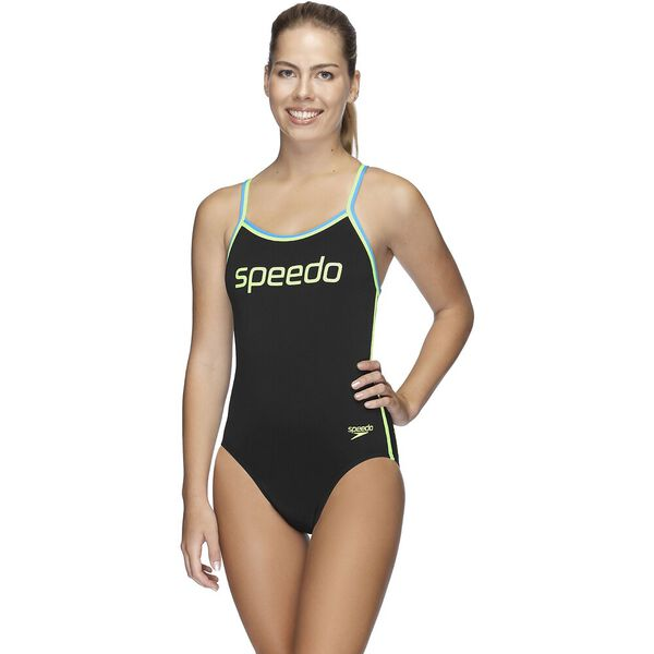 Womens Sierra One Piece, Curl Curl/Safety Yellow/Black, hi-res