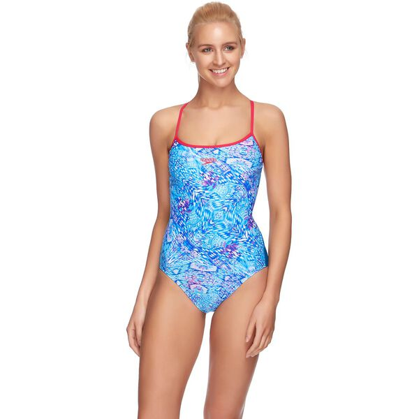 WOMENS TIE BACK HIGH LEG ONE PIECE, LOVE/NORDIC, hi-res