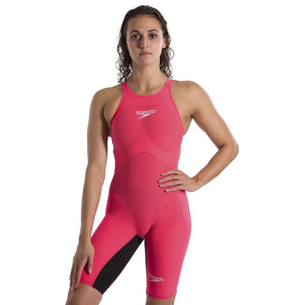 WOMENS LZR VALOR OPENBACK KNEESKIN, RED/BLK, hi-res