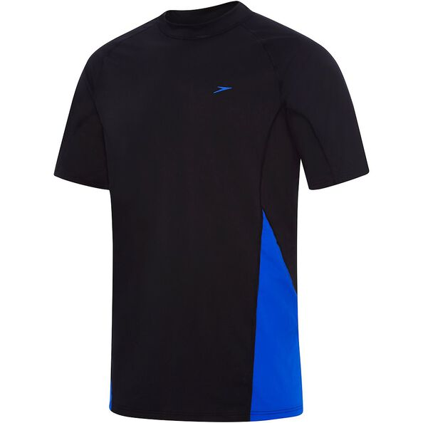 MENS FLOW REG SHORT SLEEVE RASHIE, Black/Speed, hi-res