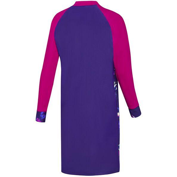 WOMENS SWIM DRESS, Digital Flora/Ultramarine/Fluro Magenta, hi-res