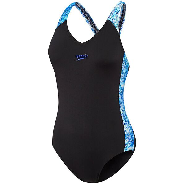 WOMENS SPLICE ONE PIECE, BLACK/IMPRESSION, hi-res
