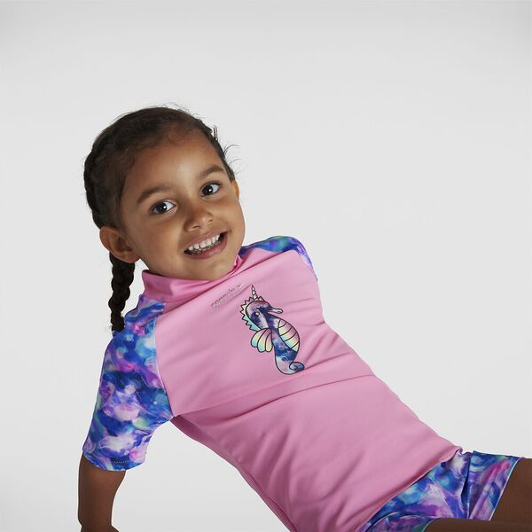 Toddler Girls Sun Protection Top And Short, Pink Splash/Spearmint, hi-res