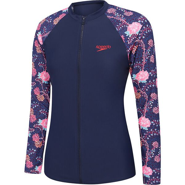 Womens Endurance 10 Zip Up Long Sleeve Sun Top, Rozion/Speedo Navy, hi-res