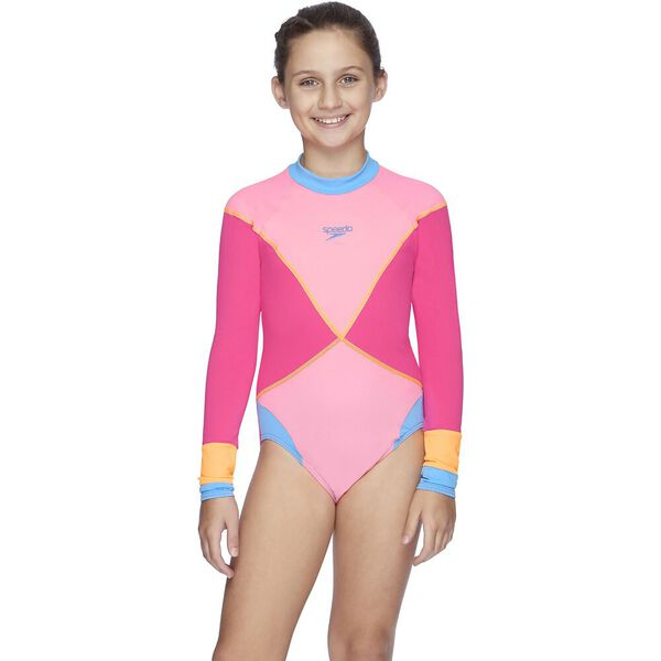 Girls X Colour Blocked Paddle Suit, Neon Pink/Chewing Gum, hi-res