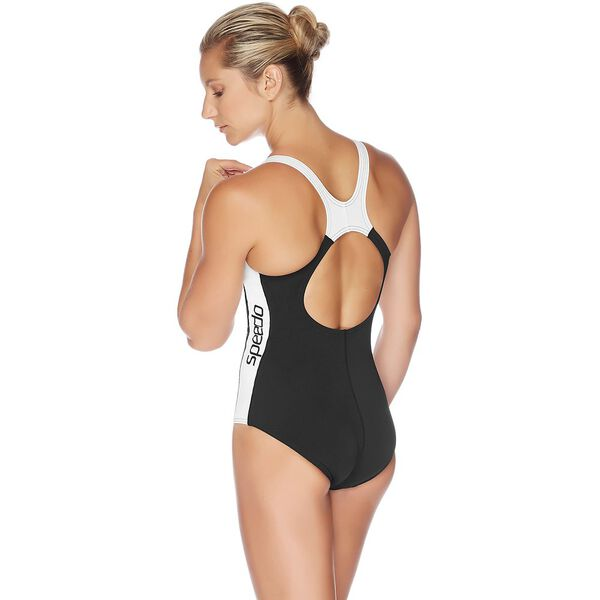 WOMENS SPLICE ONE PIECE, BLACK/WHITE, hi-res