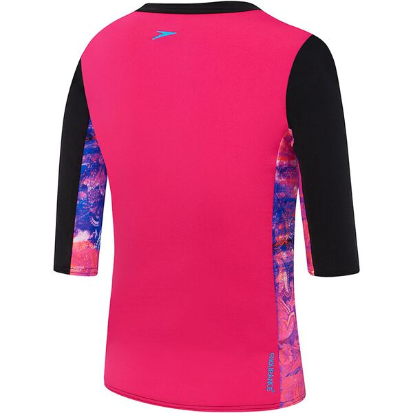 GIRLS 3/4 SLEEVE HALF ZIP RASHIE, Paisely Paradise/Black, hi-res